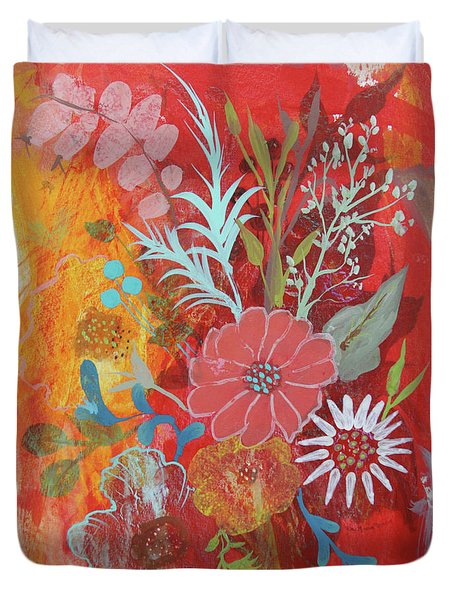Duvet Cover featuring the painting Ode To Spring by Robin Maria Pedrero