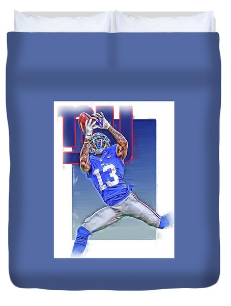 Odell Beckham Jr New York Giants Oil Art Duvet Cover by Joe Hamilton
