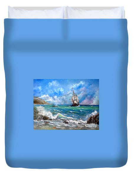 Duvet Cover featuring the painting Odessa by Patrice Torrillo