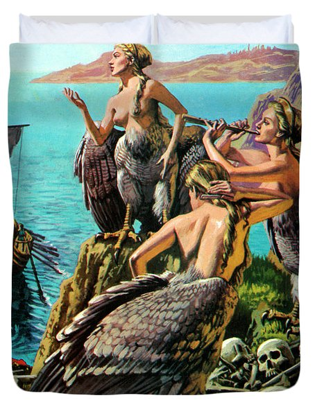 Odysseus And The Sirens Duvet Cover