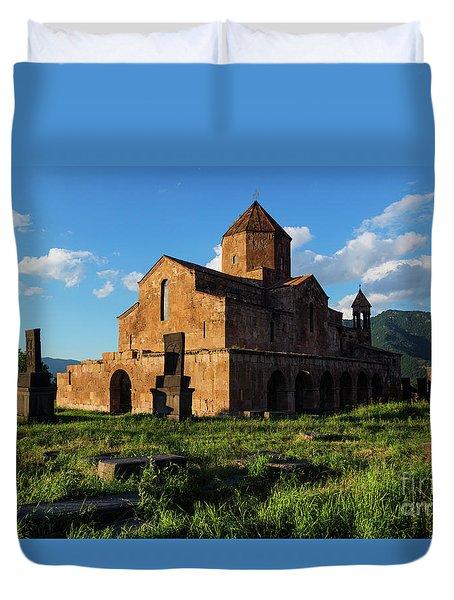 Odzun Church And Puffy Clouds At Evening, Armenia Duvet Cover