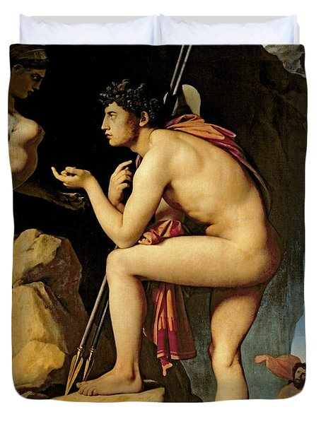 Oedipus And The Sphinx Duvet Cover by Jean Auguste Dominique Ingres