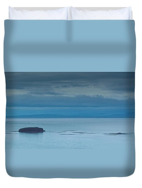 Duvet Cover featuring the photograph Off The Iceland Coast by Joe Bonita