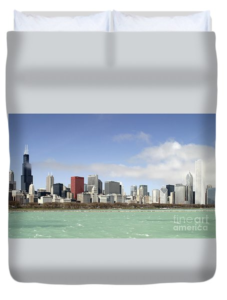 Off The Shore Of Chicago Duvet Cover