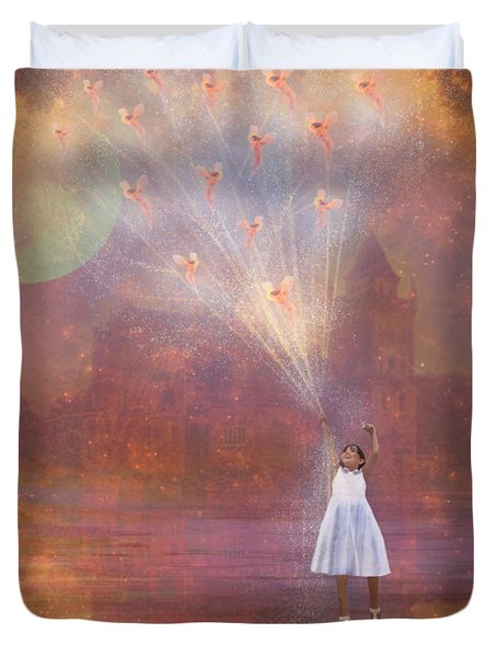 Off To Fairy Land - By Way Of Fairyloons Duvet Cover by Carrie Jackson