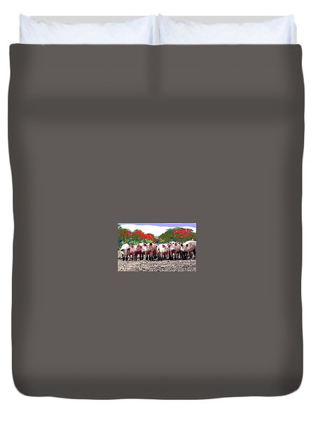 Off To The Market Duvet Cover by Charles Shoup