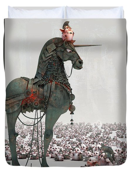 Duvet Cover featuring the digital art Offering by Te Hu