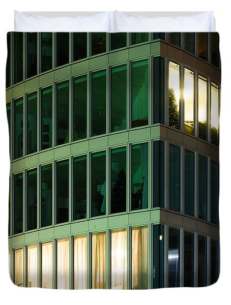 Office Building At Night Duvet Cover