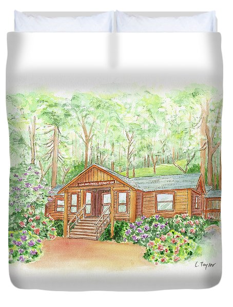 Office In The Park Duvet Cover