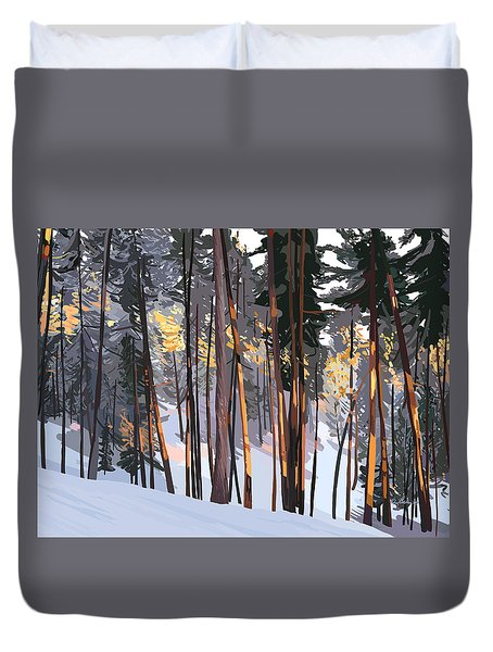 Office View Winter Alpenglow Duvet Cover
