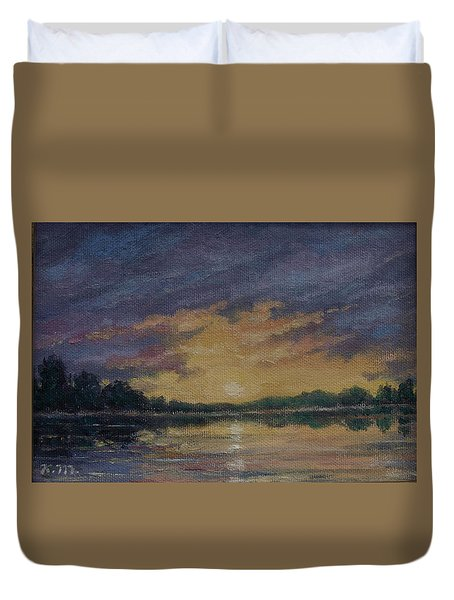 Offshore Sunset Sketch Duvet Cover by Kathleen McDermott