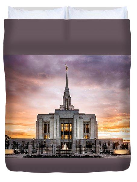 Ogden Lds Temple Sunset Duvet Cover