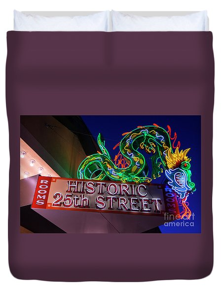 Duvet Cover featuring the photograph Ogden's Historic 25th Street Neon Dragon Sign by Gary Whitton