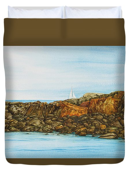 Ogunquit Maine Sail And Rocks Duvet Cover