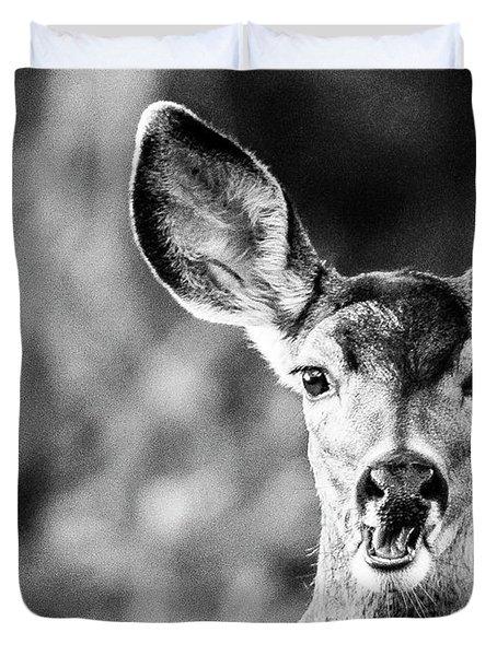 Oh, Deer, Black And White Duvet Cover