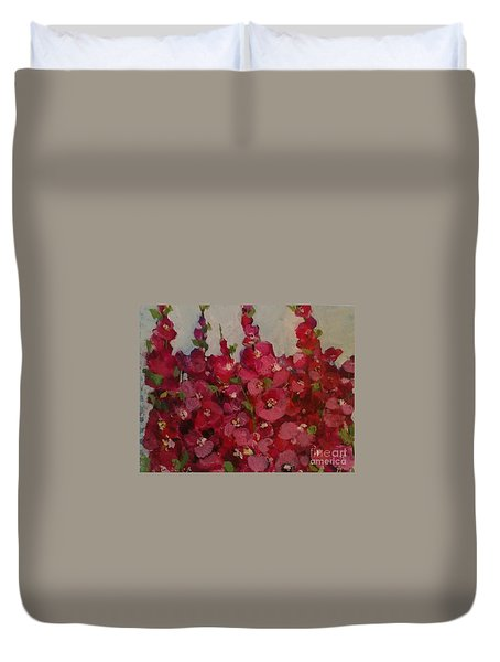 Oh My Hollyhocks Duvet Cover