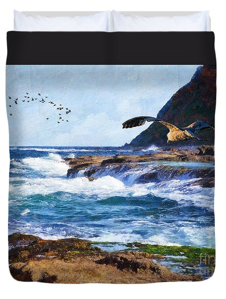 Duvet Cover featuring the painting Oh The Wind And The Waves by Lianne Schneider