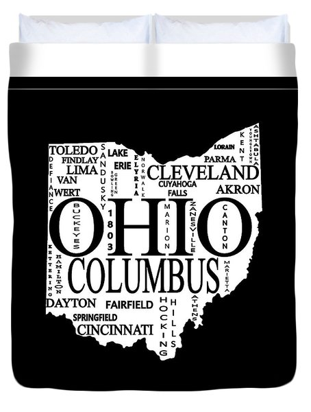 Duvet Cover featuring the mixed media Ohio City Typography Map by Dan Sproul