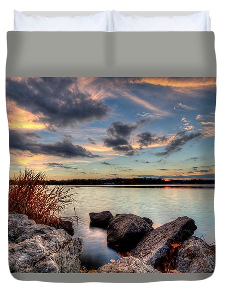 Ohio Fall Sunset Duvet Cover