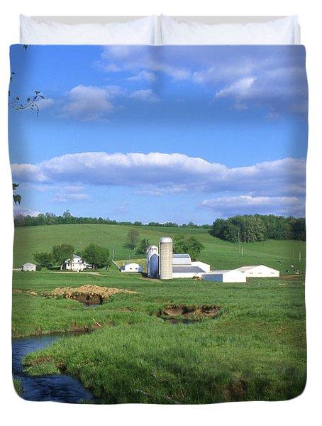 3d203 Ohio Farm Photo Duvet Cover
