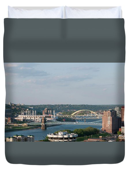 Ohio River's Suspension Bridge Duvet Cover