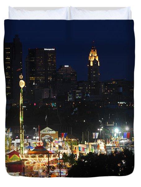 D3l-464 Ohio State Fair With Columbus Skyline Duvet Cover