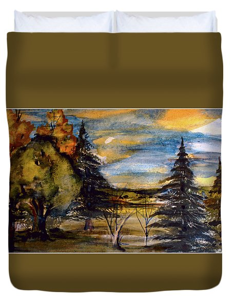 Duvet Cover featuring the painting Ohio Sunset by Mindy Newman