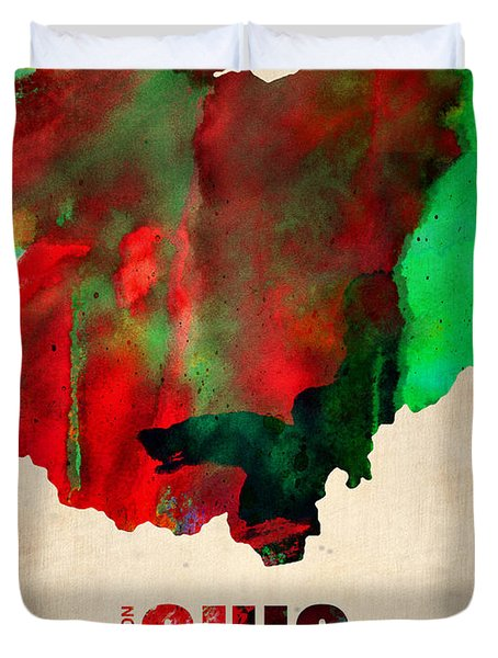 Ohio Watercolor Map Duvet Cover by Naxart Studio