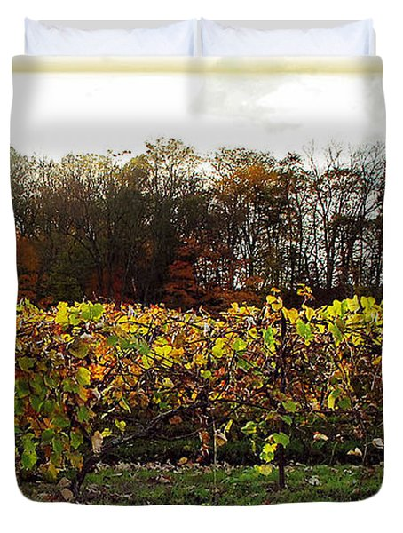 Duvet Cover featuring the photograph Ohio Winery In Autumn by Joan  Minchak