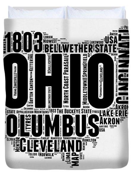 Ohio Word Cloud Map 2 Duvet Cover