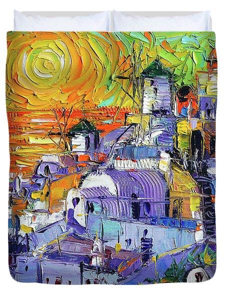 Oia Santorini Magic Light Mini Cityscape 09 - Modern Impressionist Palette Knife Oil Painting Duvet Cover