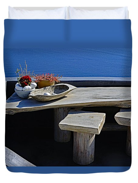 Oia Still Life On The Greek Island Of Thira Duvet Cover