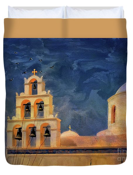 Duvet Cover featuring the photograph Oia Sunset Imagined by Lois Bryan