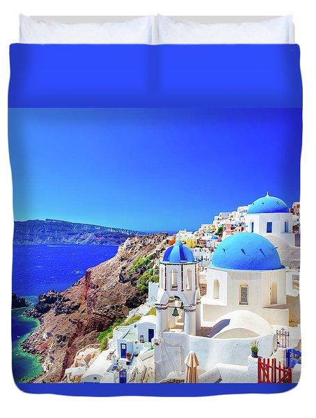 Oia Town On Santorini Island, Greece. Caldera On Aegean Sea. Duvet Cover