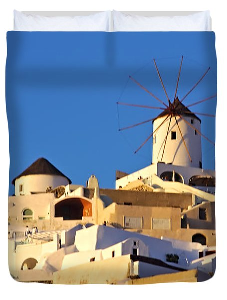 Oia Windmill Duvet Cover