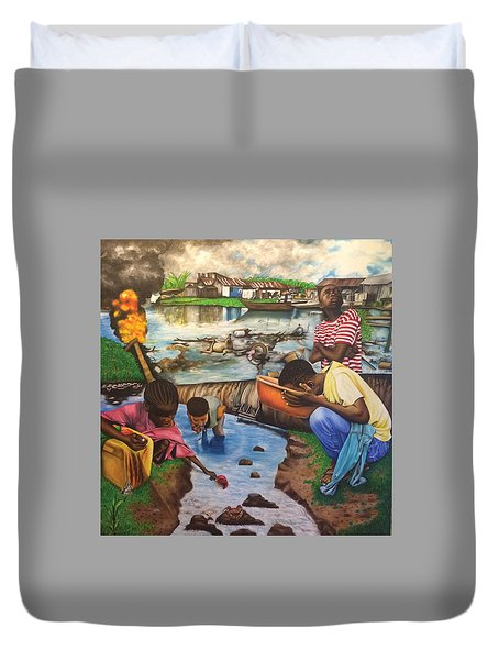 Oil- Africans' Wealth And Woe Duvet Cover