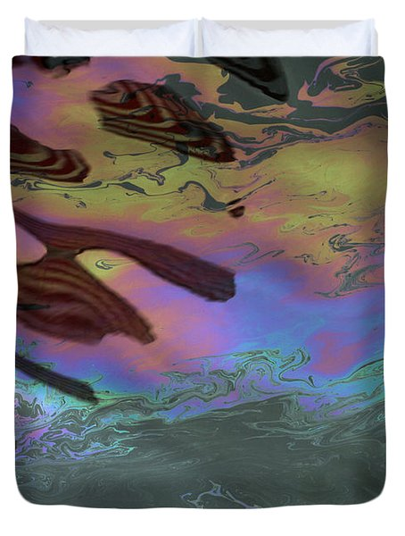 Oil And Flag At Pearl Harbor Duvet Cover