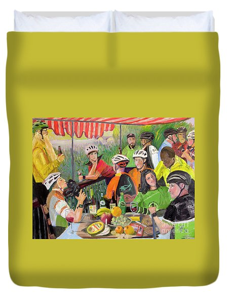 Oil- Luncheon Of The Cycling Party Duvet Cover