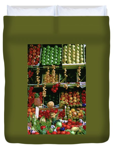 Oil Painted Faux Paris Fruit Display Duvet Cover