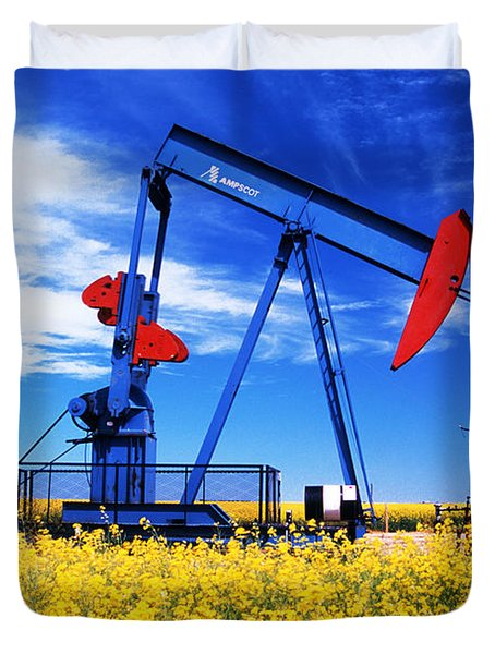 Oil Pumpjack And Canola Field, Arcola Duvet Cover