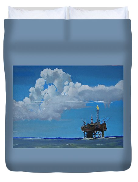 Oil Rig Near The Shetland Islands Duvet Cover