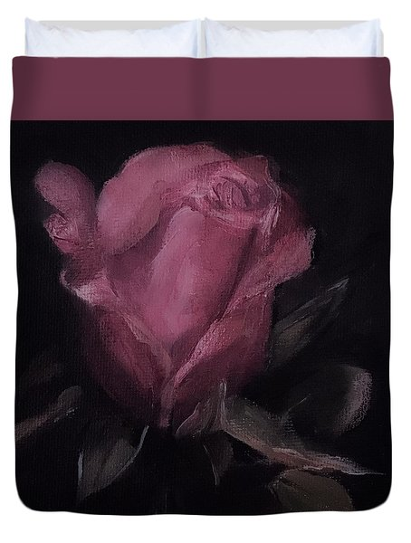 Oil Rose Painting Duvet Cover by Michele Carter
