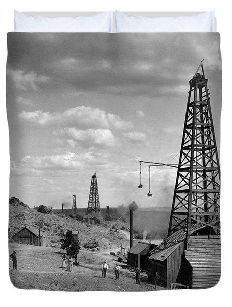 Oil Well, Wyoming, C1910 Duvet Cover