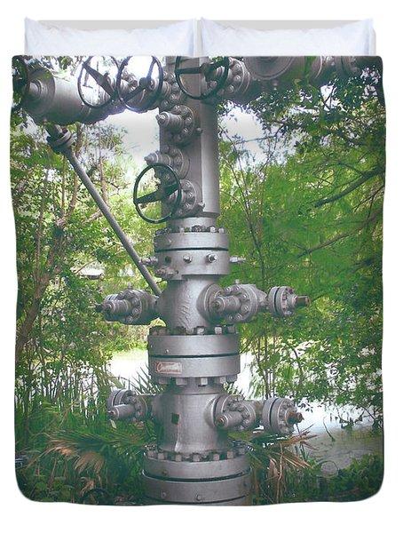 Oilfield Christmas Tree  Duvet Cover by Joseph Baril