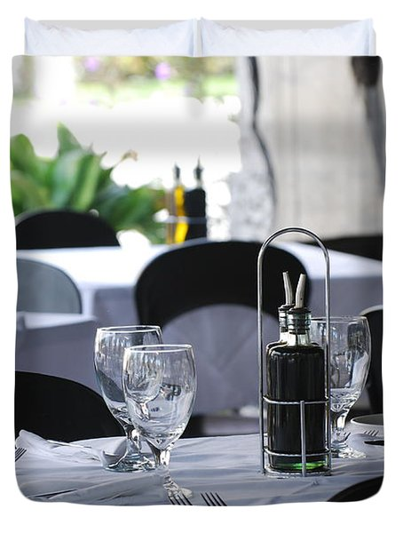 Duvet Cover featuring the photograph Oils And Glass At Dinner by Rob Hans