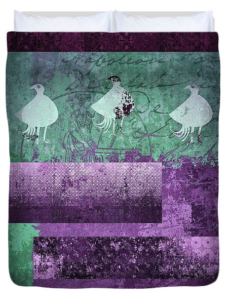 Duvet Cover featuring the digital art Oiselot 01 - J097179222-bl02a by Variance Collections