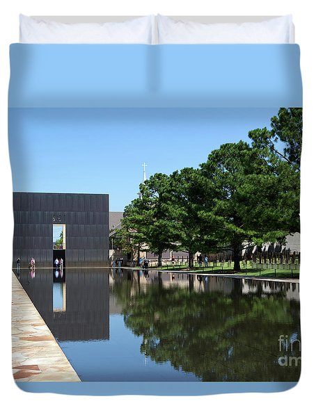 Duvet Cover featuring the photograph Oklahoma City National Memorial Bombing by Steven Frame