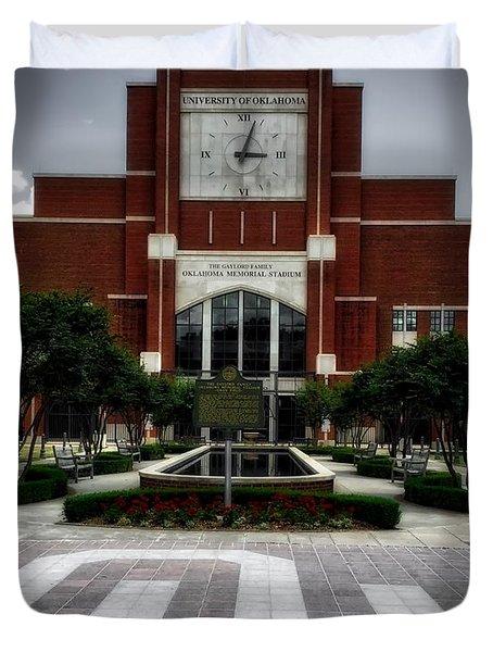 Oklahoma Memorial Stadium Duvet Cover by Center For Teaching Excellence