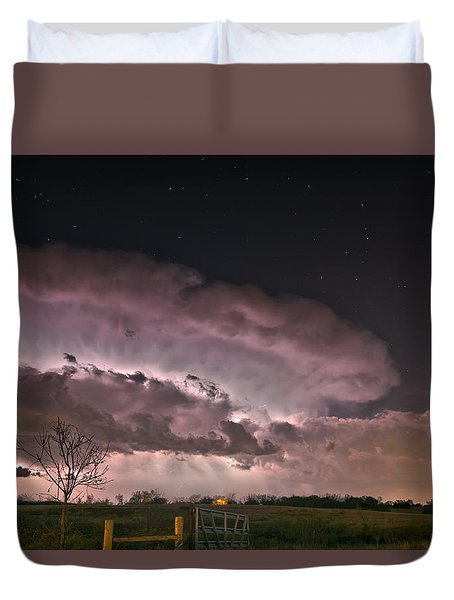 Oklahoma Sky Of Fire Duvet Cover by James Menzies