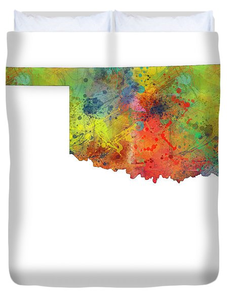 Oklahoma State Map Duvet Cover